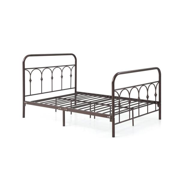 Complete Metal Bronze Queen Bed with Headboard, Footboard, Slats and Rails