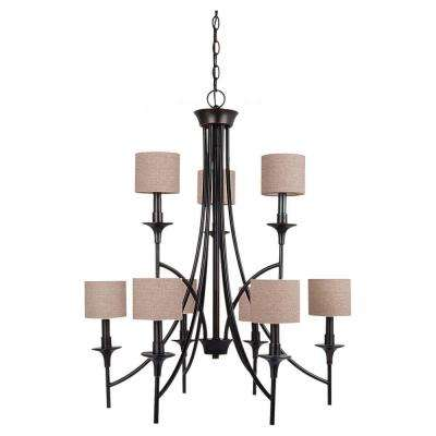Stirling 9-Light Burnt Sienna Chandelier with Linen Shades