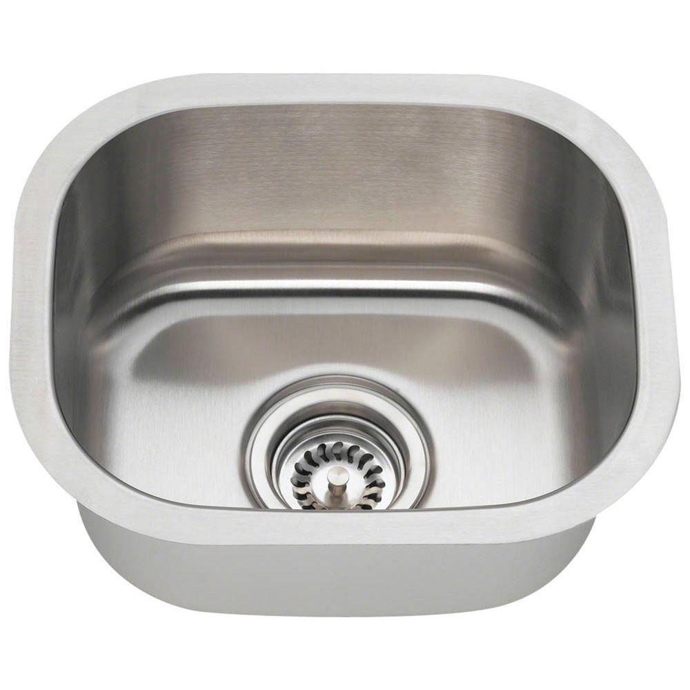 MR Direct Undermount Stainless Steel 15 In. Single Bowl Bar Sink