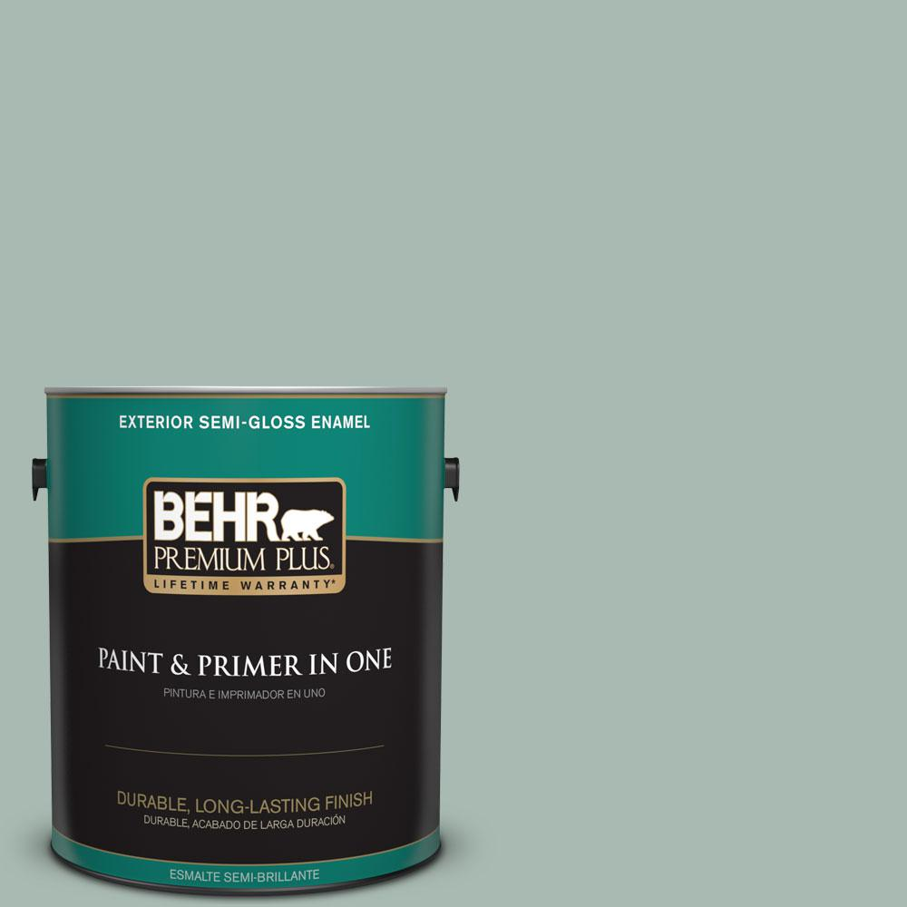 1-gal. #BXC-85 Quiet Teal Semi-Gloss Enamel Exterior Paint