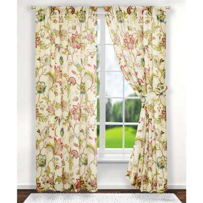 Brissac 70 in. W x 63 in. L Polyester Tailored Pair Curtains with Tiebacks in Red