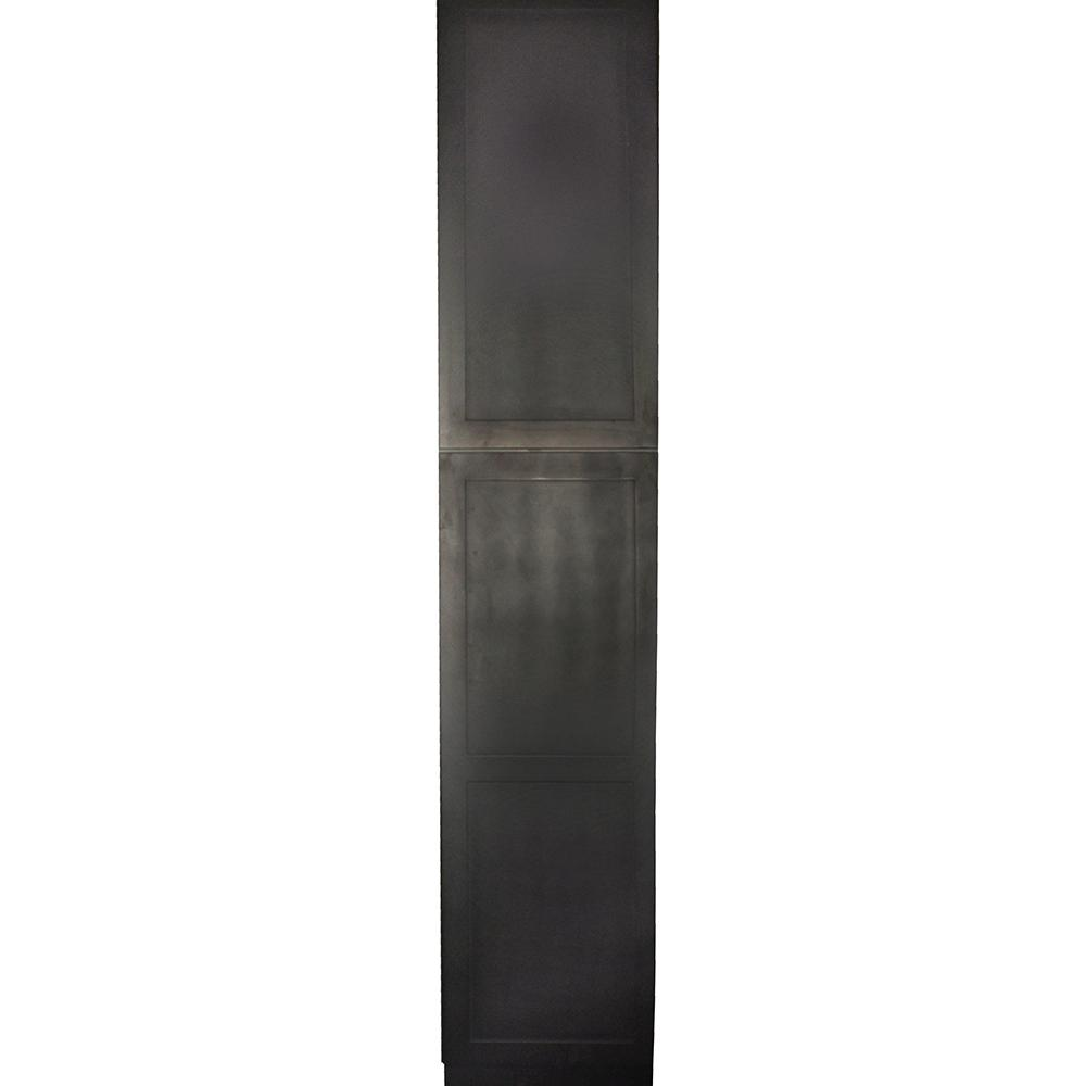 Krosswood Doors Black Satin Shaker Ii Ready To Emble 18x90x24 In Tall Pantry Cabinet