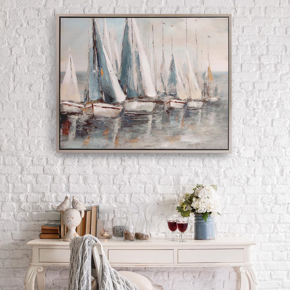 Painterly Sailboars Coastal Framed Canvas Wall Art
