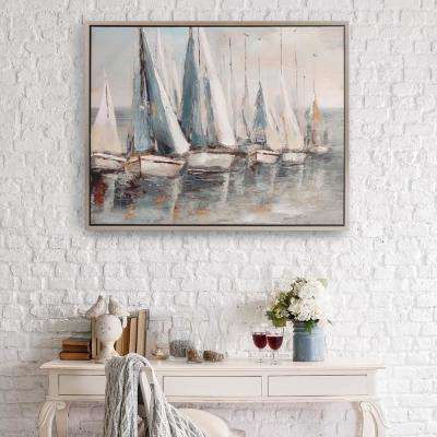 Painterly Sailboars Coastal Framed Canvas Wall Art