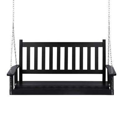 25.5 in. Tall Maine Black Wood Patio Porch Swing