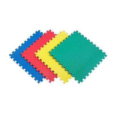 Multi-Purpose 24 in. x 24 in. Interlocking Multi-Color Foam Flooring Recyclamat (4-Pieces)