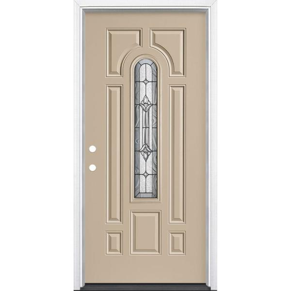 36 in. x 80 in. Providence Center Arch Left Hand Inswing Painted Steel Prehung Front Exterior Door with Brickmold