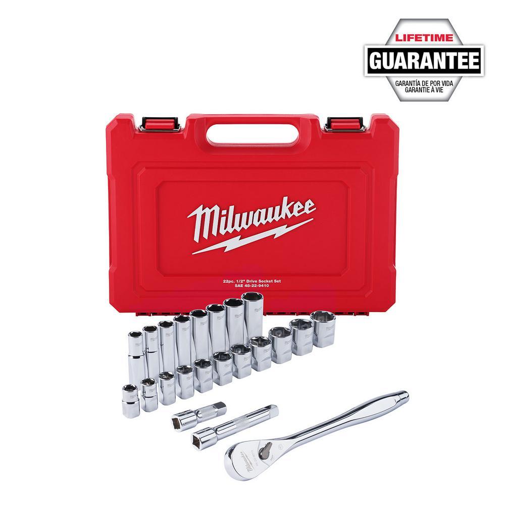 1/2 in. Drive SAE Ratchet and Socket Mechanics Tool Set (22-Piece)
