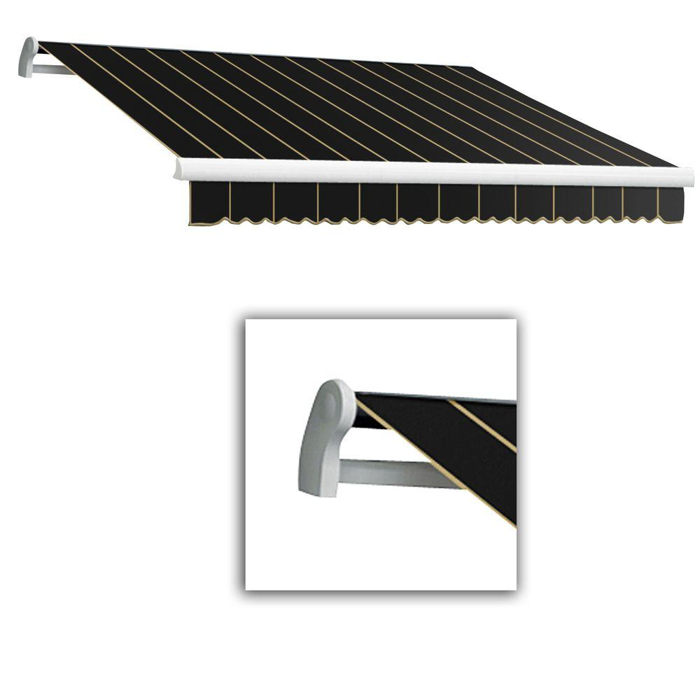 AWNTECH 24 ft. LX-Maui Left Motor with Remote Retractable Acrylic Awning (120 in. Projection) in Black Pin