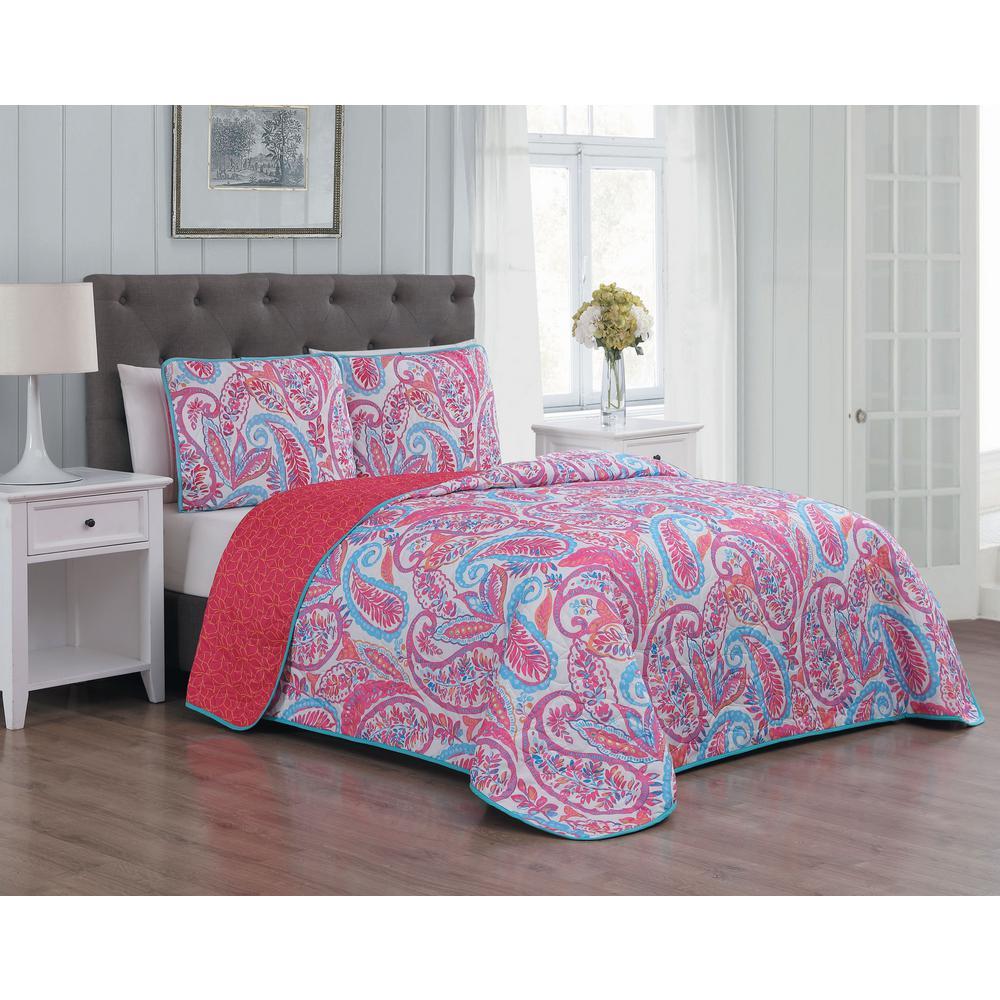 Seville 3-Piece Pink King Quilt Set