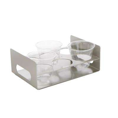 Silver Acrylic 6 Slot Cup Holder Tray with Cutout Handles