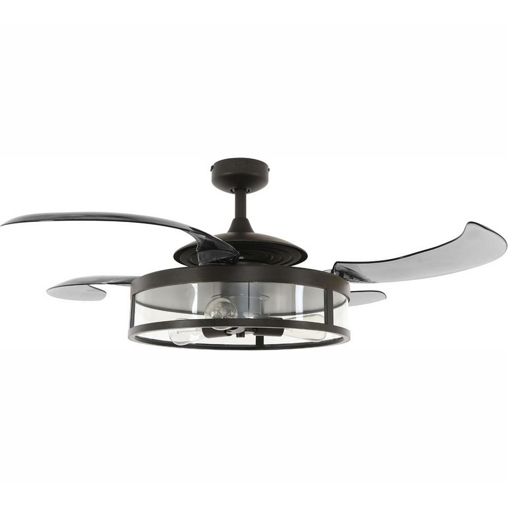 Fanaway Classic Antique Black and Smoke Retractable 4-Blade 48 in. 3-Light AC Ceiling Fan