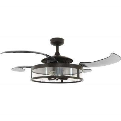Classic Antique Black and Smoke Retractable 4-Blade 48 in. 3-Light AC Ceiling Fan