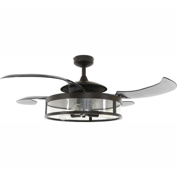 Fanaway Classic Antique Black And Smoke Retractable 4 Blade 48 In 3 Light Ac Ceiling Fan