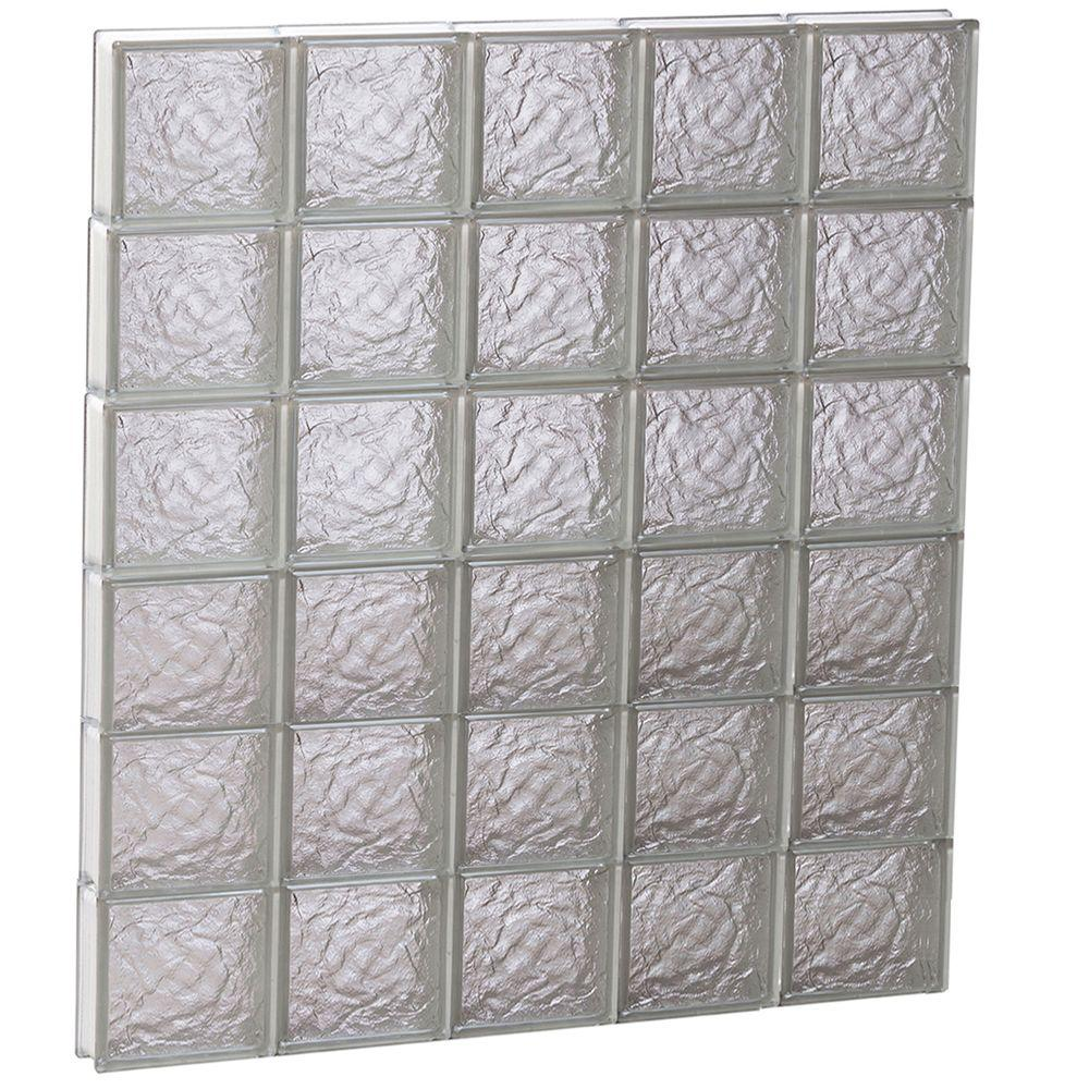 Clearly Secure 38.75 in. x 46.5 in. x 3.125 in. Frameless Ice Pattern Non-Vented Glass Block Window