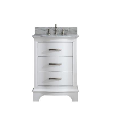 Monroe 24 in. W x 22 in. D Bath Vanity in White with Natural Marble Vanity Top in Carrara White with White Basin
