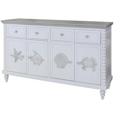 Montauk 4-Drawer Blue/Gray Mist Solid Wood, MDF with Ash veneer Cabinet