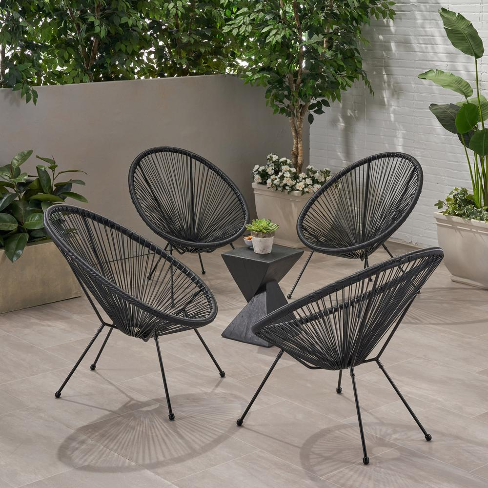 Ansor Black Metal Outdoor Lounge Chair (4-Pack)