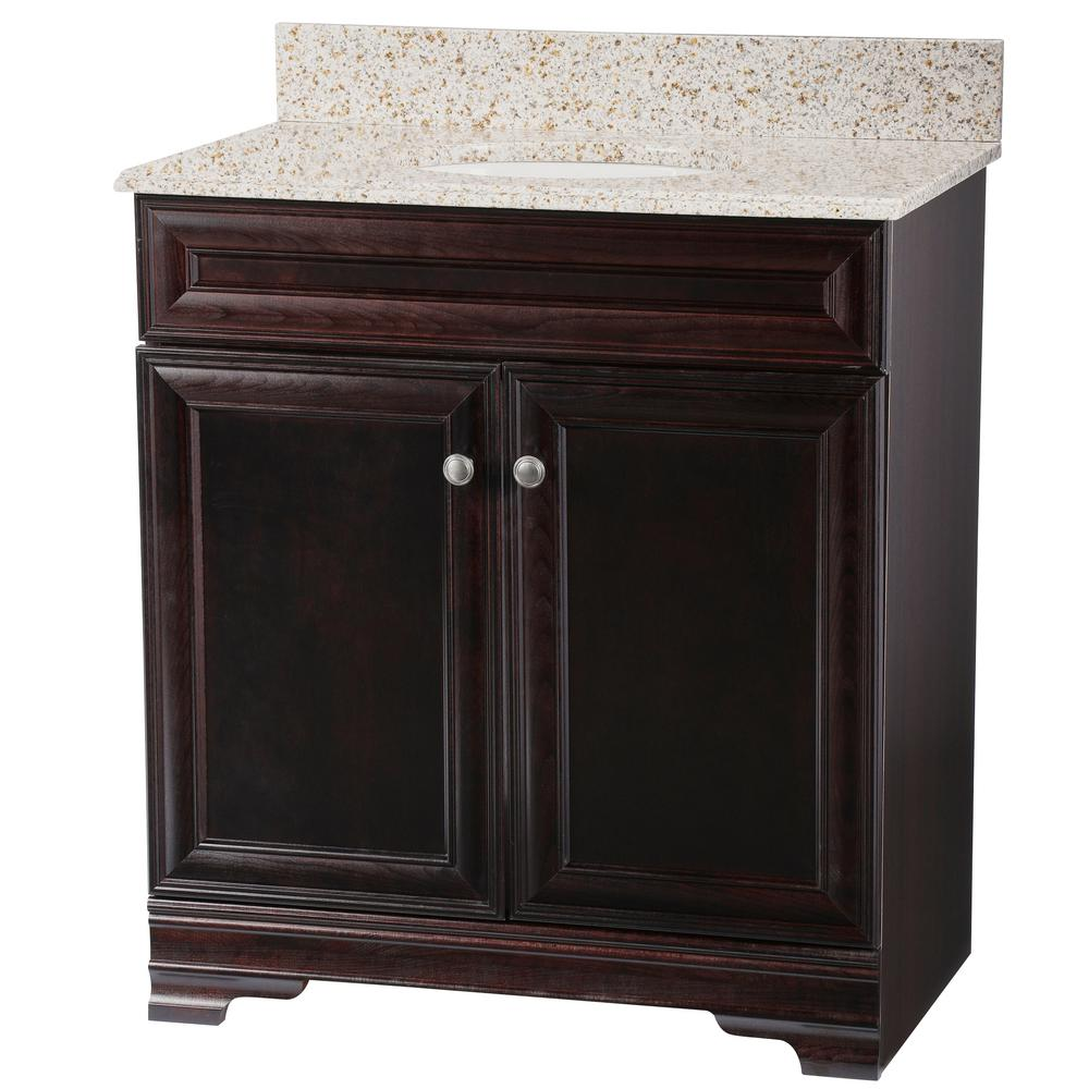 Home Decorators Collection Grafton 31 in. W Bath Vanity in Crimson with Granite Vanity Top in Beige with White Sink