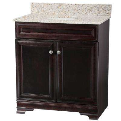 Grafton 31 in. W Bath Vanity in Crimson with Granite Vanity Top in Beige with White Sink