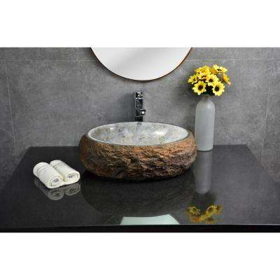 Mason Vessel Sink in Granite with Polished Onyx Interior