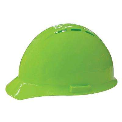 Vent 4 Point Nylon Suspension Slide-Lock Cap Hard Hat in Hi Viz Lime