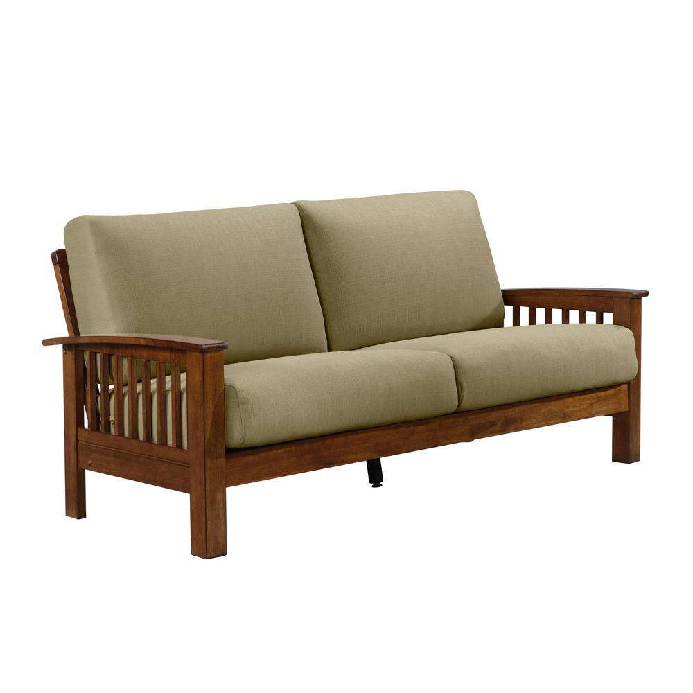 Harthan Barley Tan Linen Mission Style Sofa with Exposed Cherry Wood Frame