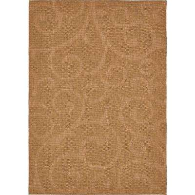 Outdoor Botanical Brown 7' x 10' Rug