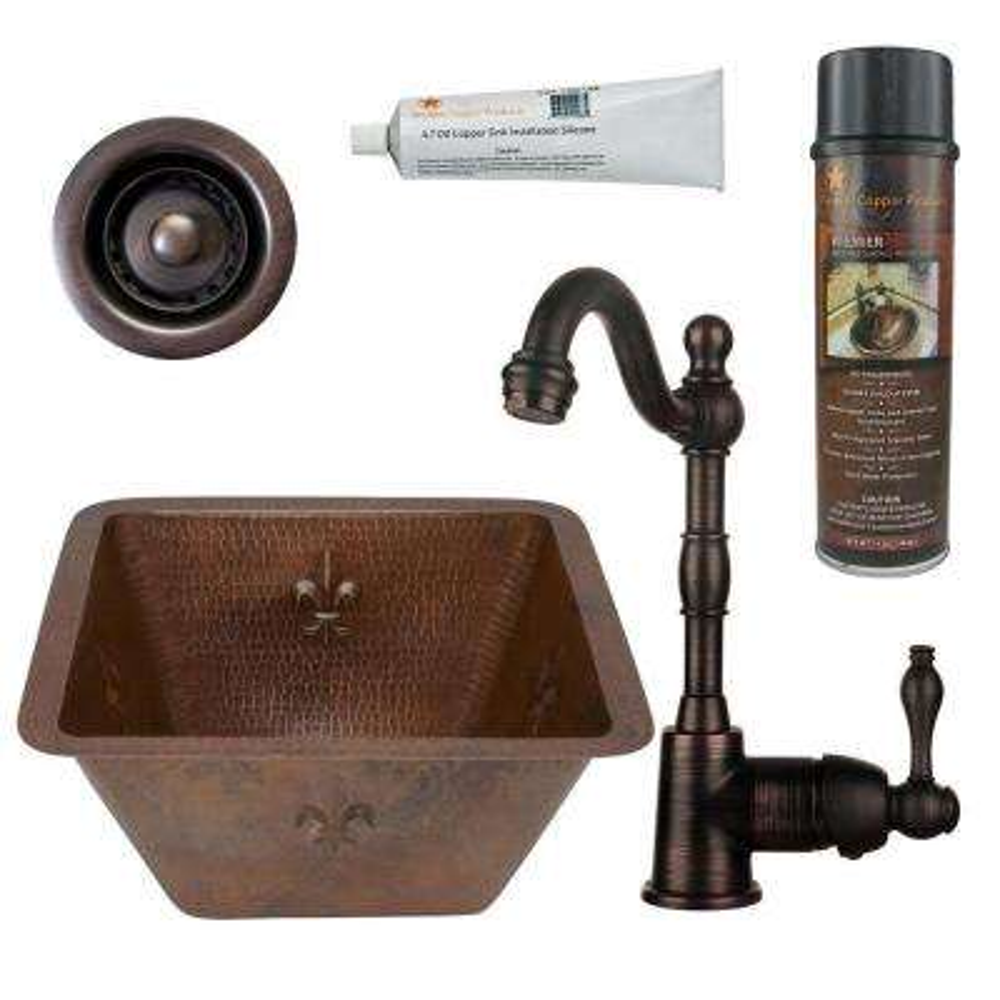 All-in-One Dual Mount Copper 15 in. 0-Hole Square Fleur De Lis Bar/Prep Sink in Oil Rubbed Bronze