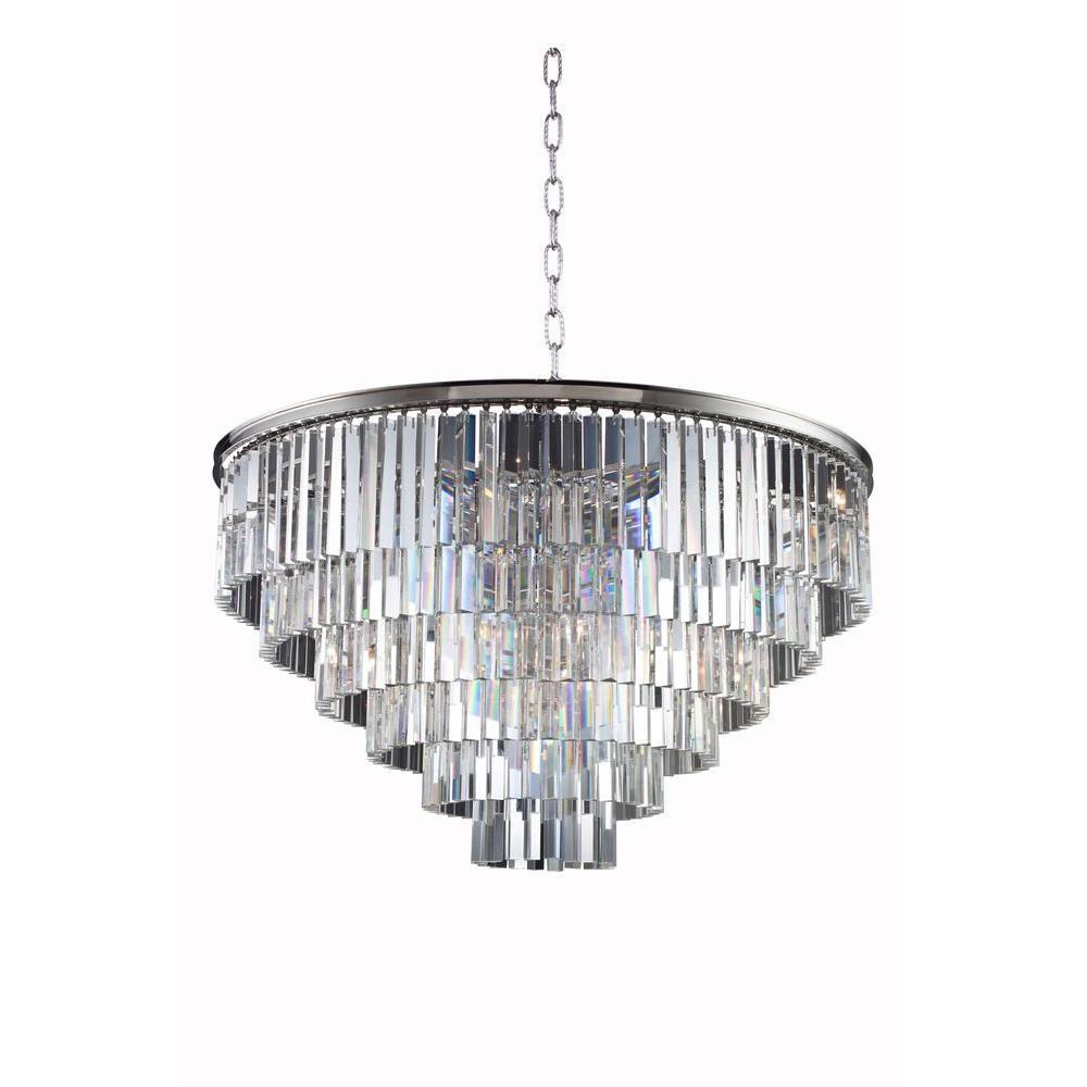 Elegant lighting sydney 33 light polished nickel chandelier with elegant lighting sydney 33 light polished nickel chandelier with clear crystal aloadofball Choice Image