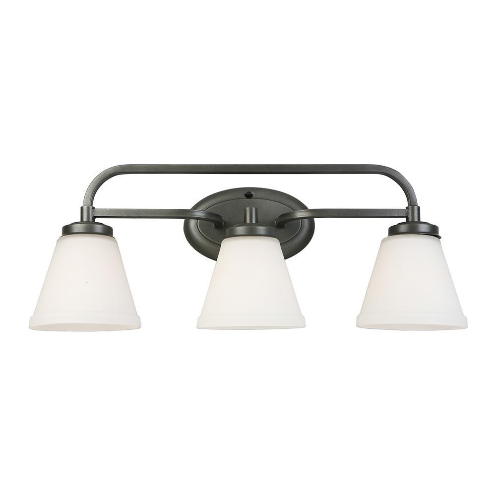 Mayview 3-Light Graphite Bath Light
