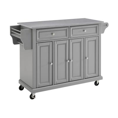 Full Size Grey Kitchen Cart with Stainless Steel Top