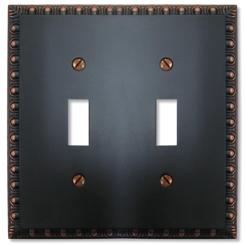 Amerelle Reaissance 2 Toggle Wall Plate - Aged Bronze-DISCONTINUED