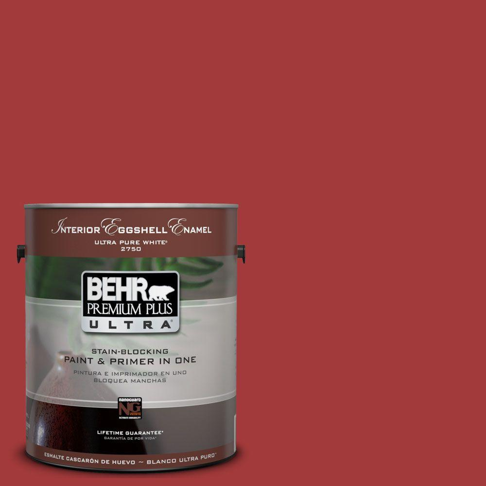 BEHR Premium Plus Ultra 1-Gal. #UL110-16 Bijou Red Interior Eggshell Enamel Paint