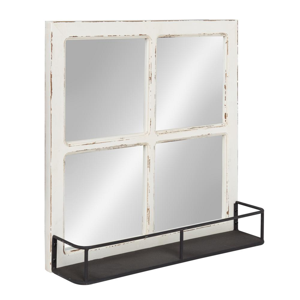 Kate And Laurel Jackson Distressed Wood Windowpane Mirror With Metal Shelf Other White