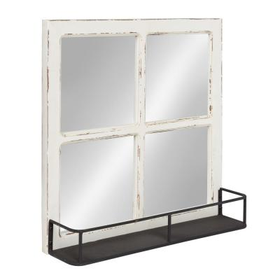 Medium Rectangle White Shelves & Drawers Casual Mirror (20.25 in. H x 20.25 in. W)