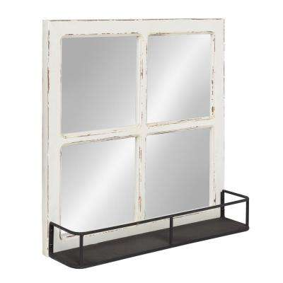 Jackson Distressed Wood Windowpane Mirror with Metal Shelf Other White