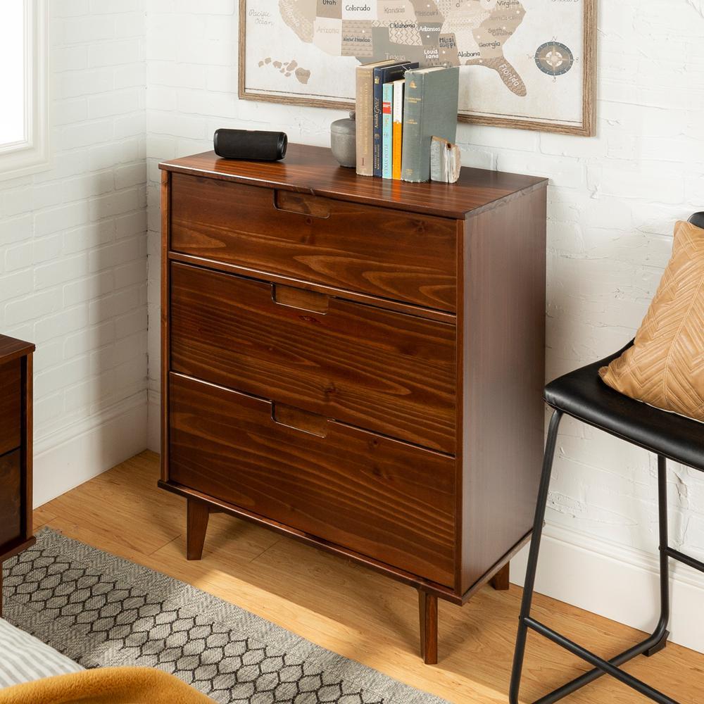 3-Drawer Walnut Mid Century Modern Wood Dresser