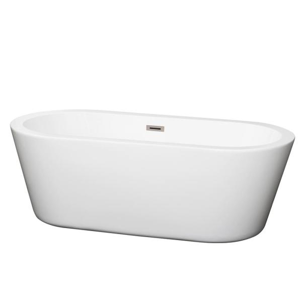 Wyndham Collection Mermaid 5.58 ft. Center Drain Soaking Tub in White