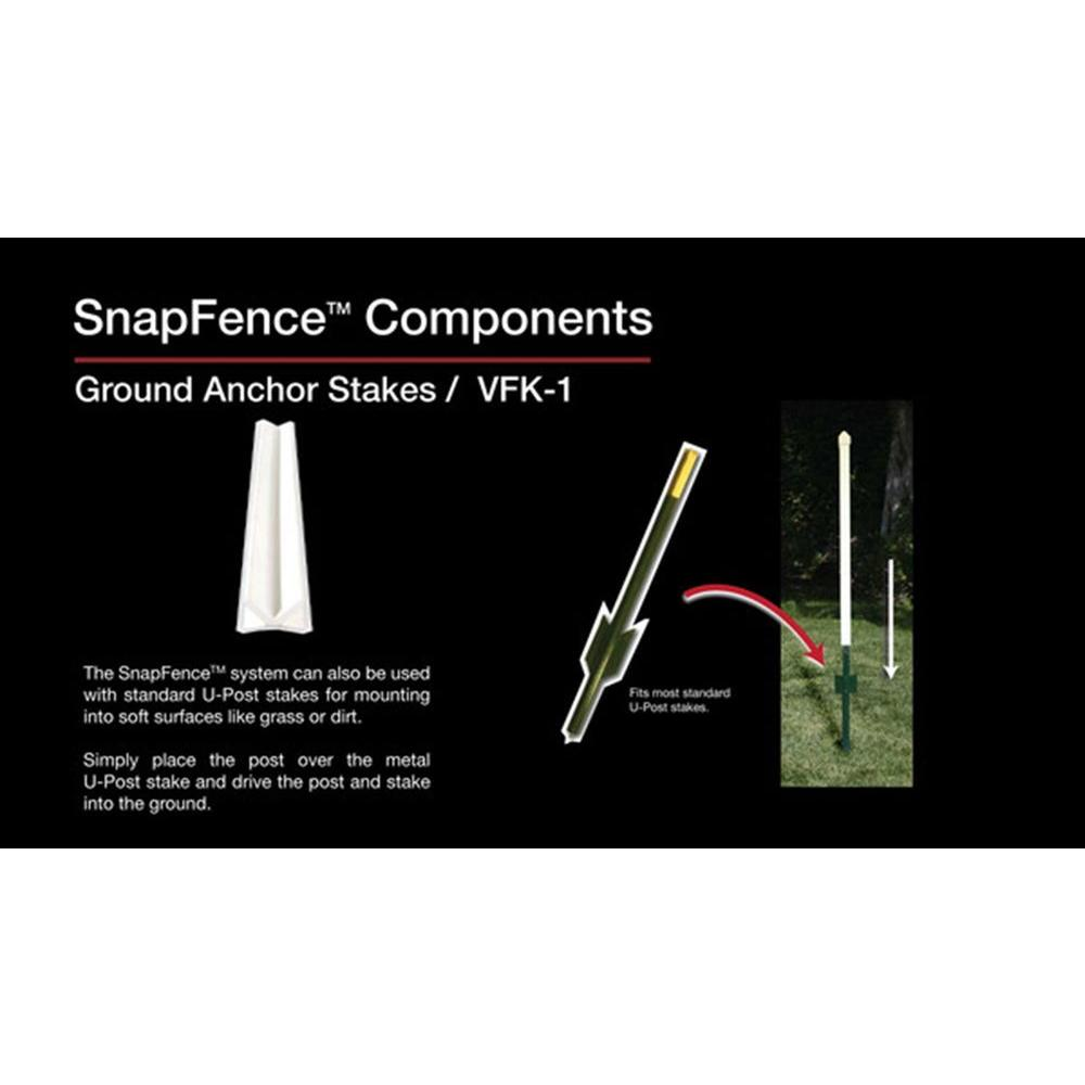 SnapFence 1 in  x 1 in  x 2 ft  White Modular Vinyl Fence Rail Ground  Anchor Stake (12-Box)