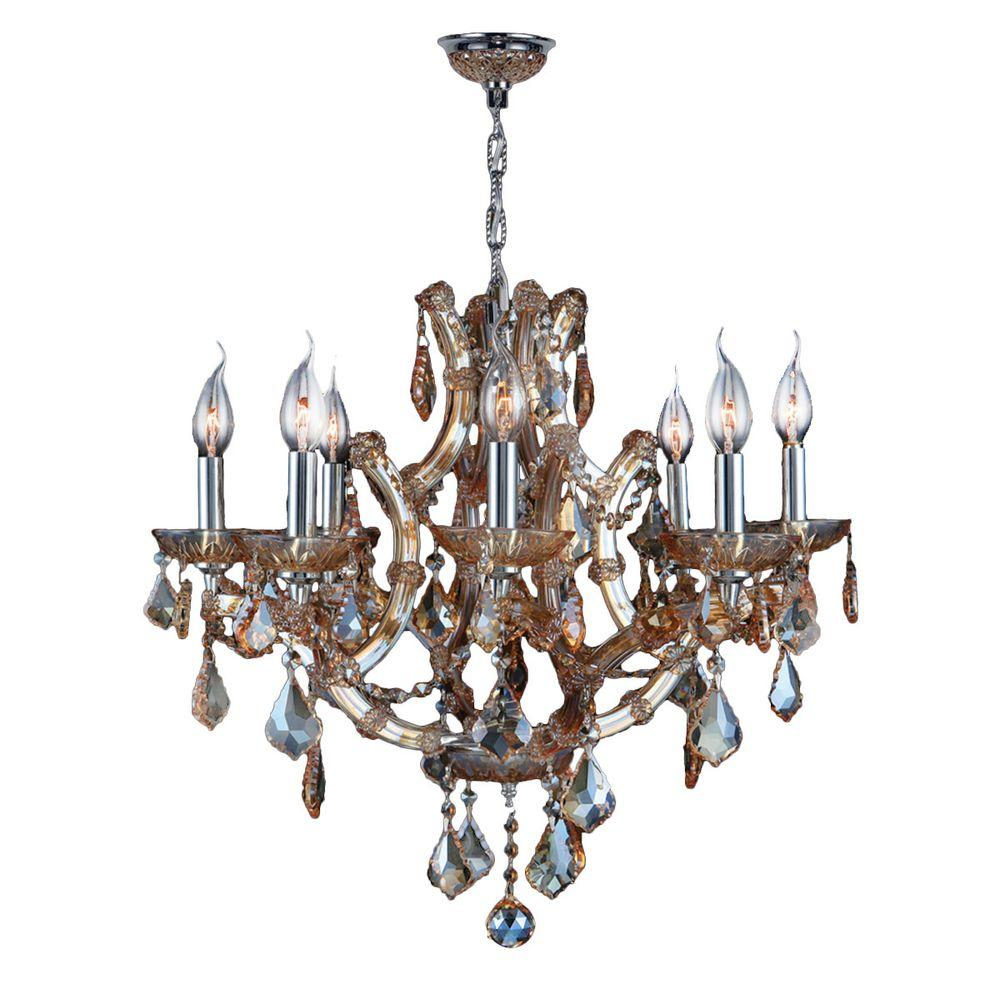 Worldwide lighting gatsby 6 light chrome and smoke glass and crystal lyre 8 light chrome and amber crystal chandelier aloadofball Images