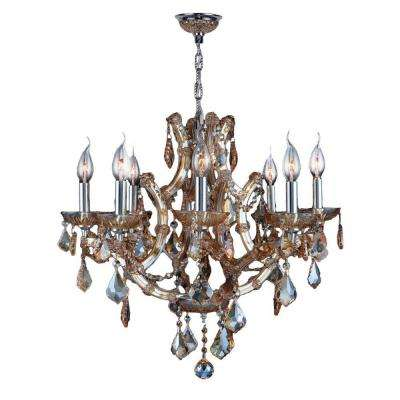 Lyre 8-Light Chrome and Amber Crystal Chandelier