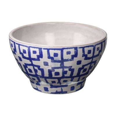 5.5 in. White/Blue Square Tile Bowl
