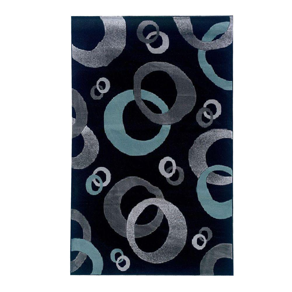 Linon Home Decor Milan Collection Black And Turquoise 5 Ft X 7 Ft 7 In Indoor Area Rug Rug
