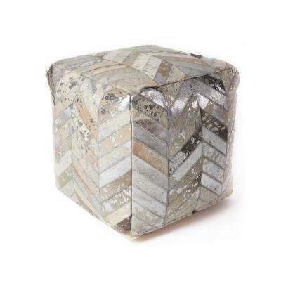 Hide Herringbone with Foil 18 in. x 18 in. Accent Pouf