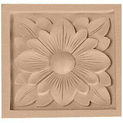 5-1/8 in. x 1 in. x 5-1/8 in. Unfinished Wood Cherry Large Dogwood Flower Rosette