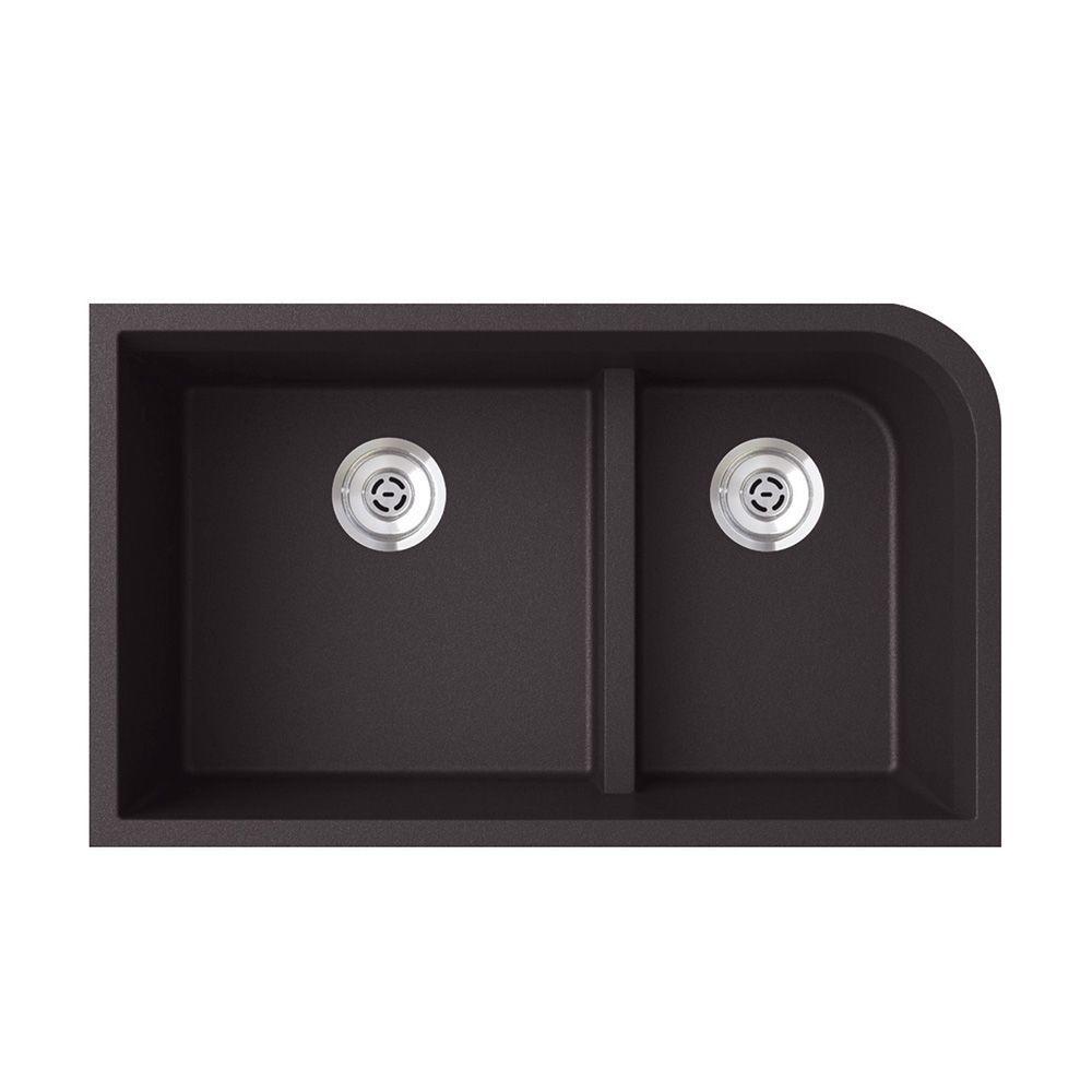Undermount Granite 32 in. 0-Hole 60/40 Double Bowl Kitchen Sink in Nero