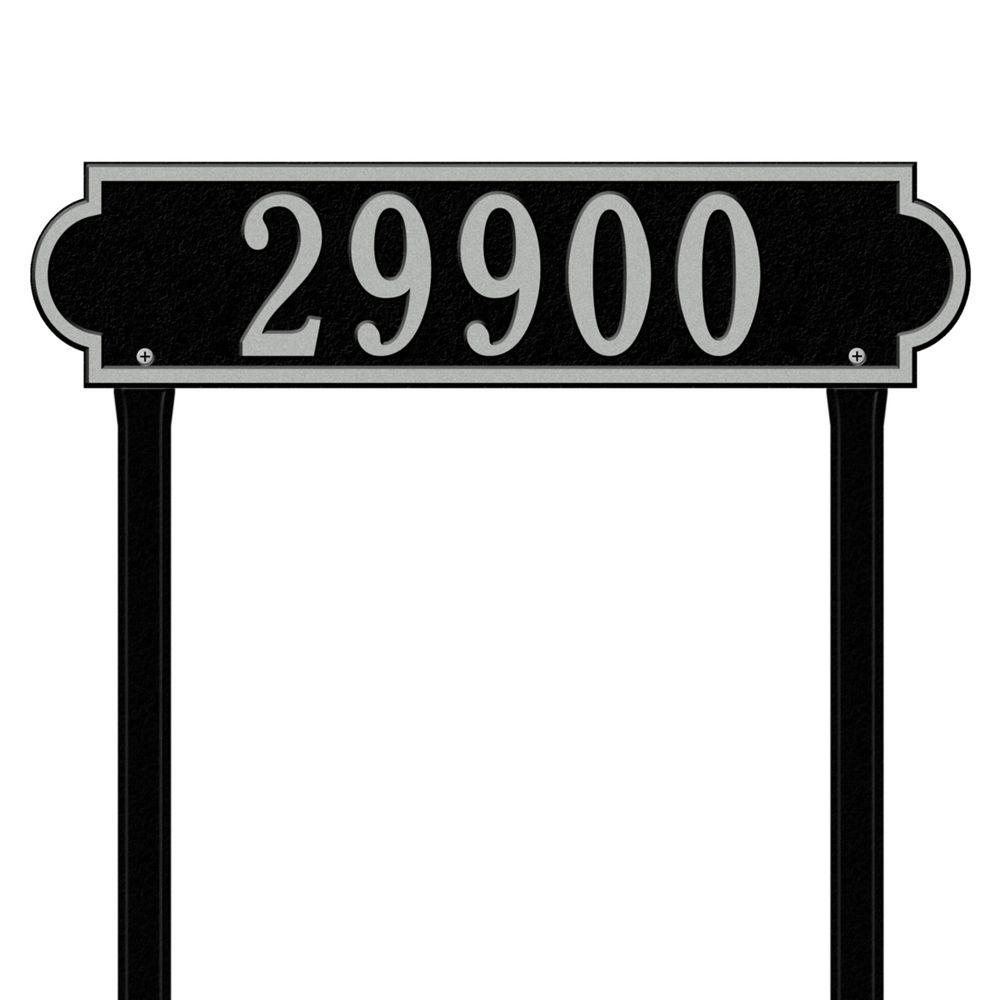 Richmond Rectangular Black/Silver Estate Lawn One Line Horizontal Address Plaque