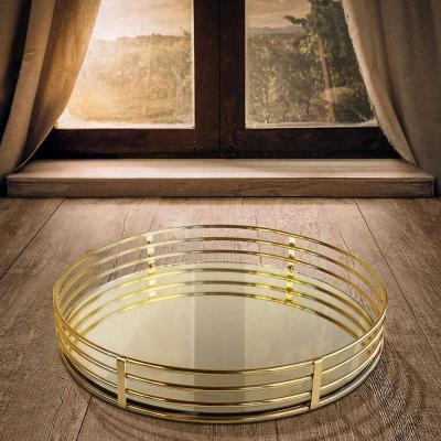 15 in. x 3 in. x 15 in. Gold Metal and Glass Round Serving Tray