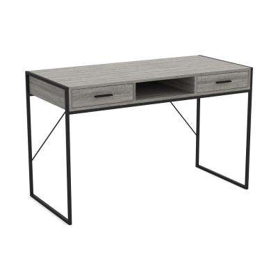 48 in. Grey Wood and Black Computer Desk